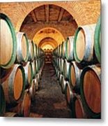 Wine Barrels In Cellar, Spain Metal Print