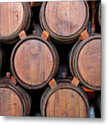 Wine Barrels Stacked Inside Winery Metal Print
