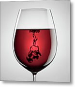 Wineglass, Red Wine And Black Ink Metal Print