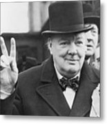 Winston Churchill Gives Victory Sign Metal Print