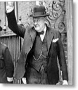 Winston Churchill Showing The V Sign Metal Print