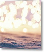 Winter Background With Snow And Fairy Lights. Metal Print