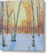 Winter Birches-cardinal Left Metal Print