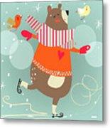 Winter Cartoon Bear Metal Print