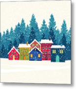 Winter Mountain Houses. Winter Landscape Metal Print