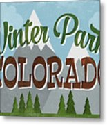 Winter Park Colorado Retro Mountains Metal Print