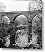 Wissahickon Creek - Reading Viaduct In Black And White Metal Print