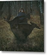 Witch Of The Forest With Her Crows Metal Print