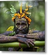 Witchdoctor In Ulul Village In New Metal Print