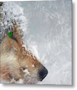 Wolf In The Snowstorm - Painting Metal Print