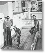 Woman And Two Men On Cruiser Deck, B&w Metal Print