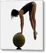 Woman Balancing On Globe Metal Print
