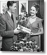 Woman Giving Gift To Man, B&w Metal Print