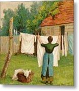 Woman Hanging Up Washing Metal Print