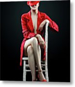 Woman In Red Metal Print