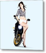 Woman Leaning On A Motorbike Metal Print