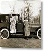 Woman Leaving Hired Cadillac Metal Print