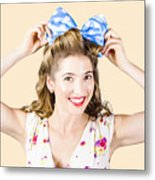 Woman Playing With Hair Tie. Retro Accessories Metal Print