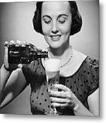 Woman Pouring Alcoholic Beverage Metal Print