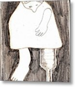 Woman With A Wooden Leg Drawing Metal Print