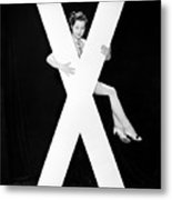 Woman With Huge Letter X Metal Print