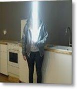 Woman With Laser Sword Standing Metal Print