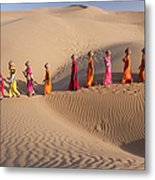 Women Fetching Water From The Sparse Metal Print