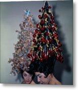 Women Modeling Festive Christmas Hairdos Metal Print