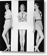 Women Posing With Huge Letter H Metal Print