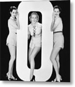 Women Posing With Huge Letter O Metal Print