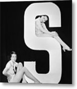 Women Posing With Huge Letter S Metal Print