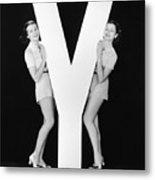 Women Posing With Huge Letter Y Metal Print