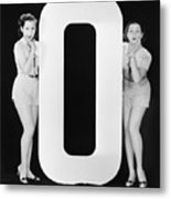 Women With Huge Letter O Metal Print