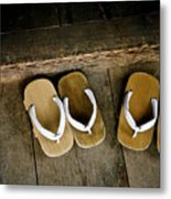 Wood Sandals Metal Print