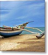 Wooden Catamaran By The Sea Shore Metal Print
