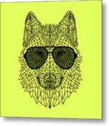 Woolf In Black Glasses Metal Print
