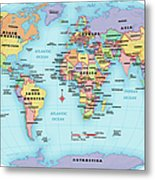 World Map, Continent And Country Labels Metal Print