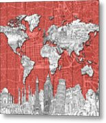World Map Landmarks Skyline 3 Metal Print