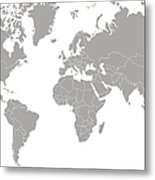 World Map Outline In Gray Color Metal Print
