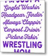 Wrestling Singlet Washin Mom Purple Gift Dark Metal Print