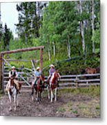 Wyoming Cowgirl Trio Metal Print