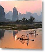 Yangshuo Li River At Sunset Metal Print