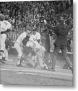 Yankees And Red Sox Players In Scuffle Metal Print
