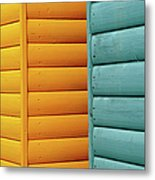 Yellow & Blue Beach Huts Abstract Metal Print