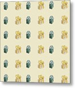 Yellow And Green Present Pattern Metal Print