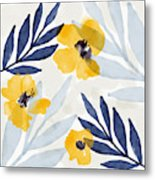 Yellow And Navy 1- Floral Art By Linda Woods Metal Print
