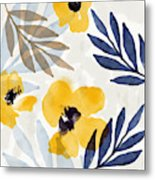 Yellow And Navy 3- Floral Art By Linda Woods Metal Print