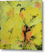Yellow Blooms Coral Accents Metal Print