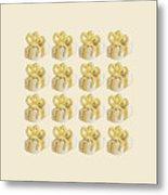 Yellow Presents Pattern Metal Print