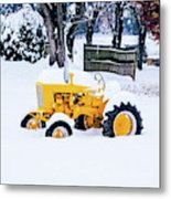 Yellow Tractor In The Snow Metal Print